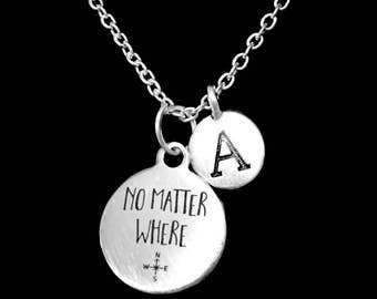 Best Friend Gift, No Matter Where Necklace, Initial Best Friend Necklace, Long Distance, Sister Necklace, Mother Daughter Necklace