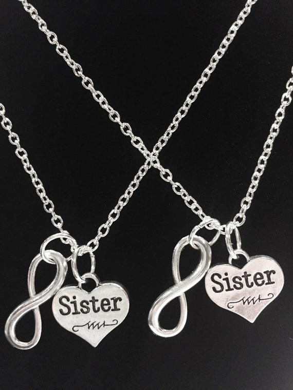 4f61005d88f77 Sister Gift, Sister Necklace, 2 Necklaces Infinity Sister Necklace Set