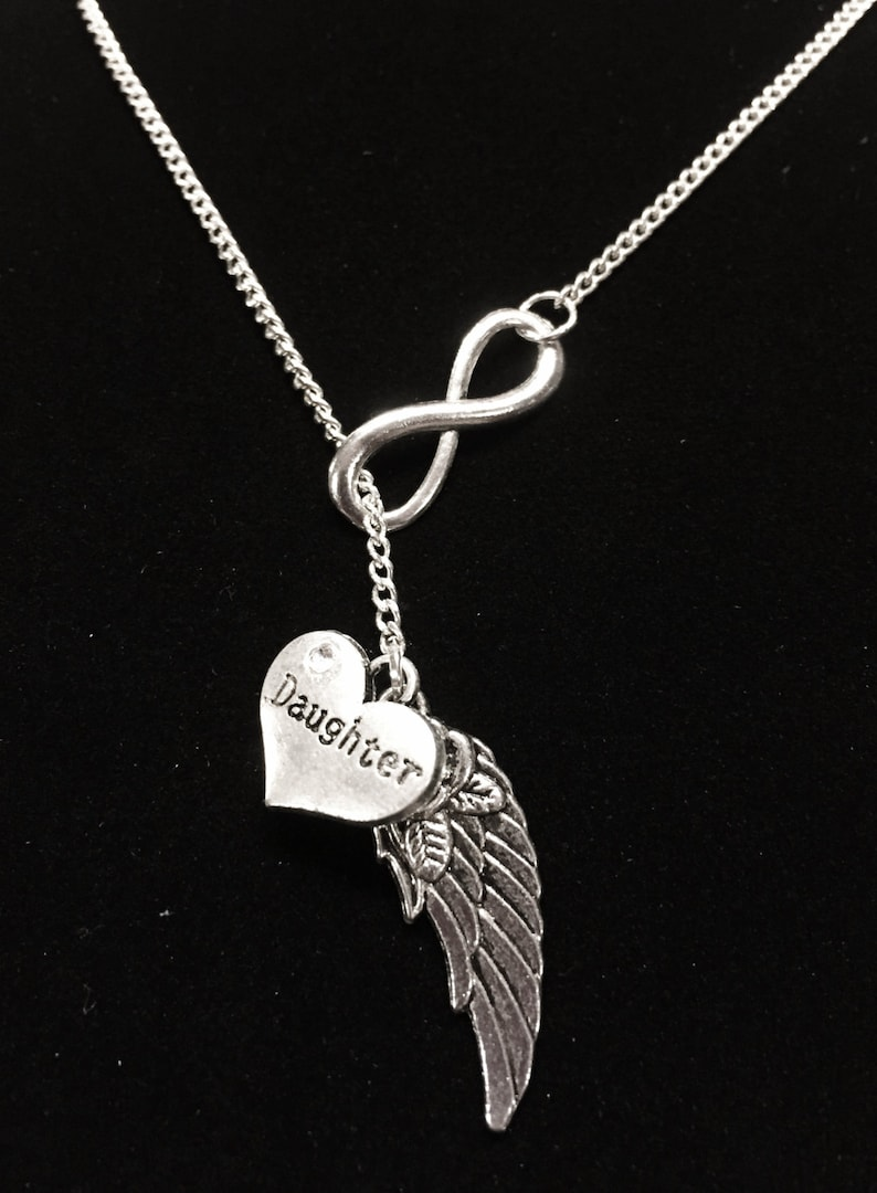 Y Lariat Necklace Angel Necklace Sympathy Gift Infinity Angel Wing Daughter In Heaven Memory Memorial Necklace Daughter