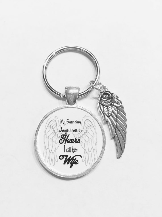 Memorial Keychain Wife My Guardian Angel Lives In Heaven Wing