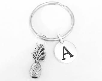 Initial Keychain, Pineapple Keychain, Tropical Fruit Keychain, Best Friend Keychain, Sister Gift Daughter Welcome Gift Keychain