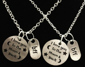 Best Friend Gift, I Love You To The Moon And Back Necklace, Best Friend Necklace, Bff Best Friend, Sisters Set