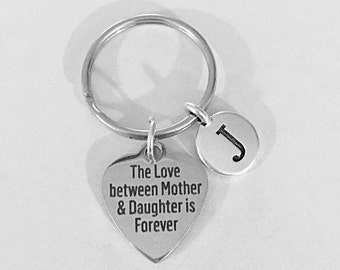 Mother Daughter Keychain, The Love Between Mother And Daughter Is Forever Initial Keychain, Mother's Day Gift Letter Keychain