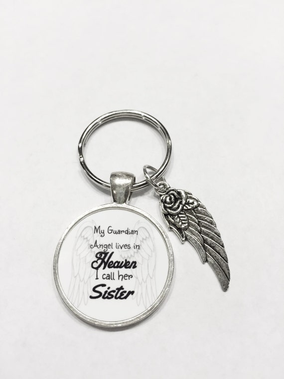 Sister My Guardian Angel Lives In Heaven Angel Wing Quote Etsy