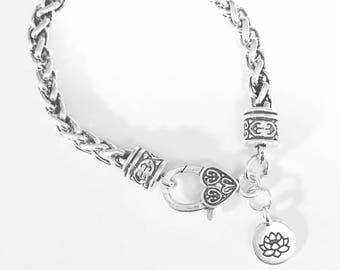 Gift For Her , Lotus Bracelet, Flower Charm Bracelet, Peace Yoga Gift Religious Charm Bracelet