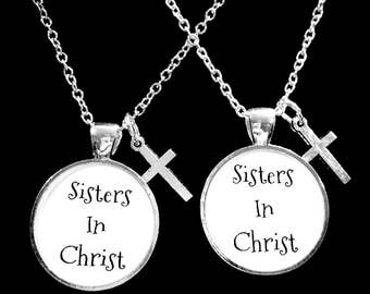 Best Friend Gift, Best Friend Necklace, Sisters In Christ Necklace, Cross Necklace, Best Friend, BFF, Necklace Set