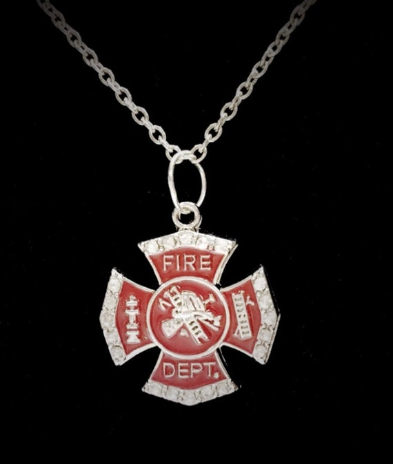 Fire Department Maltese Cross Necklace: Firefighter Wife Gift Necklace Red Crystal Maltese Cross I