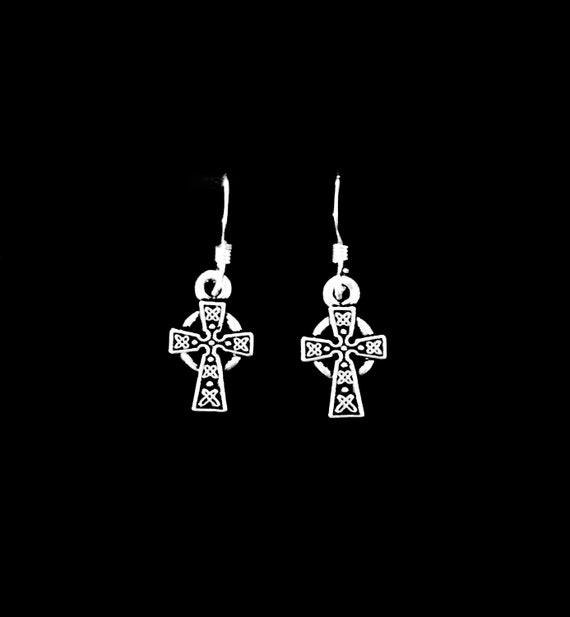 639a280ec Celtic Cross Dangle Charm Earrings Sterling Silver French | Etsy