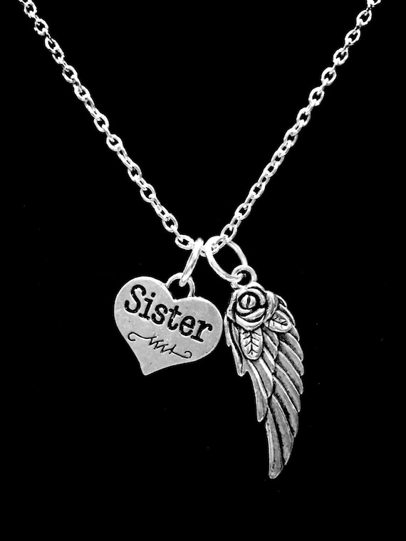 Memorial Necklace Sister Guardian Angel Sister Necklace Wing Etsy