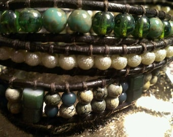 Beautiful green and gold leather wrap bracelet