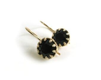 Black Earrings, Gold Earrings, Jet Swarovski, Drop Earrings, Black Swarovski, Bridal Jewellery, Bridesmaid Thank You, Gift for Her