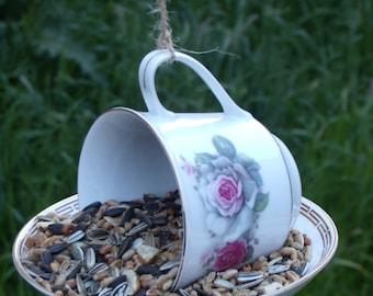 Floral Teacup and saucer bird feeder