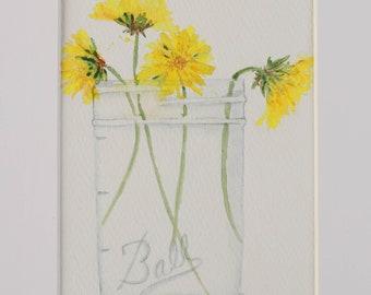 Original Watercolor Dandelions in Ball Jar