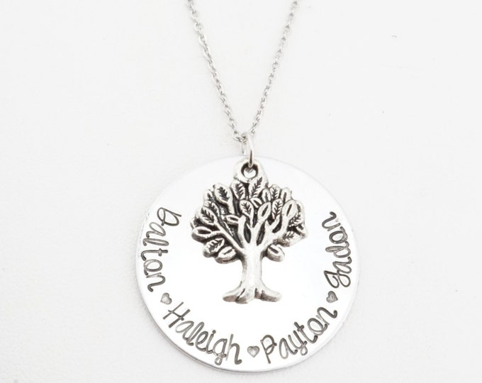 Hand stamped grandmothers necklace! Personalized mom necklace with names and family tree!