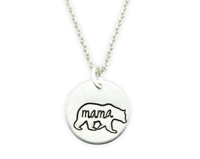 Sterling Silver Mama Bear Stamped Necklace - Mama Bear Necklace - Momma Bear Necklace - mama bear jewelry - mothers necklace