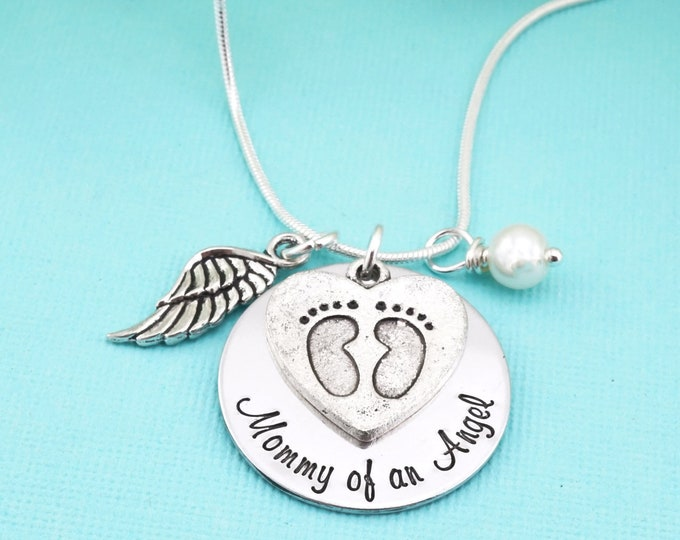 Mommy of an Angel hand stamped memorial necklace. Loss of children memorial - Miscarriage gift - Loss of Pregnancy - Angel Baby -