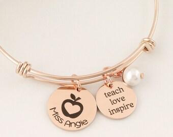 Gift for Teacher - Teacher Bangle - Teacher Necklace - Teach Love Inspire Bracelet - Teacher Gifts - Educator Gifts - Provider Gifts