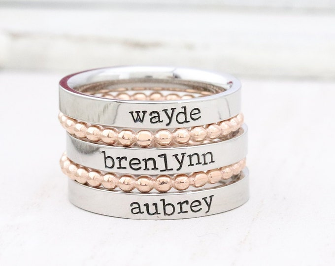 Featured listing image: Stackable Ring - Personalized Ring - Mothers Rings - Hand Stamped Ring - Personalized rings - Stacking Ring - Name Ring - Engraved Rings