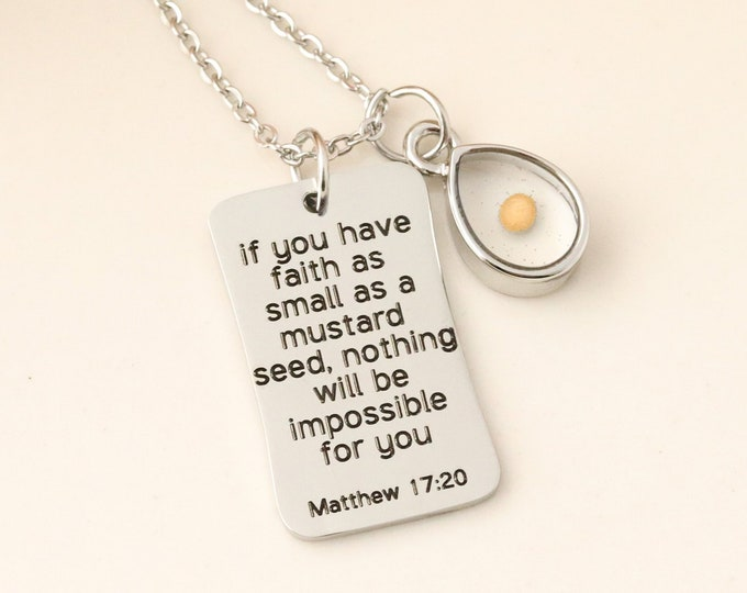 Mustard Seed Necklace - Inspirational Christian Gift - Matthew 17:20 Necklace - Faith as small as a mustard seed - Mustard Seed Charm