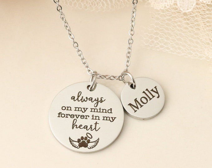 Personalized Pet Memorial Necklace - Always on my Mind, Forever in my Heart Pet Memorial Necklace - Pet Urn Necklace - Dog Memorial Necklace