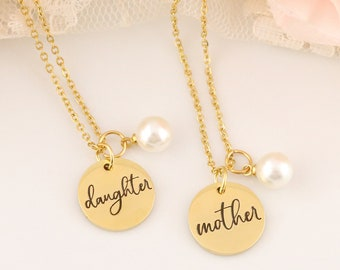 Mother Daughter Necklace Set - Mother & Daughter Necklaces - Mother Daughter Jewelry - Gift for Mother and Daughter - Gold Mother Necklace