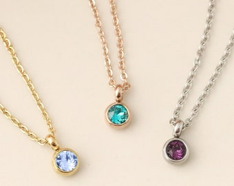 Tiny Birthstone Necklace - Solitare Birthstone Necklace - Dainty Birthstone Jewelry - Birthstone Necklace for Mom - Minimalist Birthstone