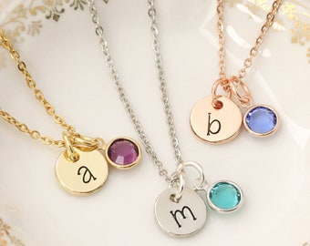 Initial Birthstone Necklace - Birthstone Jewelry - Gift for Teenager - Sweet 16 Bracelet - Gift for Daughter - Personalized Bangle