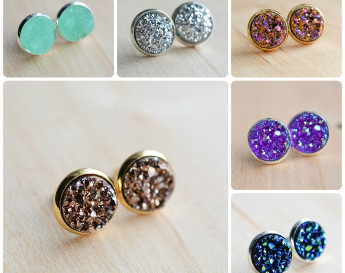 Featured listing image: 60 colors on SALE!!! Druzy Stud Earrings in silver or gold. Druzy Earrings - Druzy Post Earrings - Druzy Stud Earrings - Galactic earrings