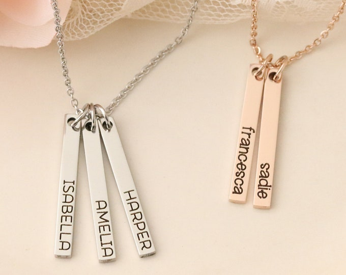 Skinny Bar Necklace - Skinny Names Necklace - Jewelry for Mom - Vertical Bar Necklace - Silver Bar Necklace - Rose Gold Bar Necklace