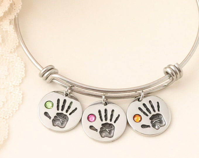 Birthstone Handprint Bangle - Mommy Jewelry - Gift for Mothers Day - Gift for Grandmother - Grandmothers Jewelry - Custom gift for Grandma