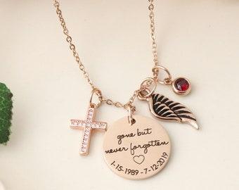 Memorial Handwriting Keepsake Necklace - Gone But Never Forgotten Necklace - Handwriting Keepsake Jewelry  Actual Handwriting Necklace