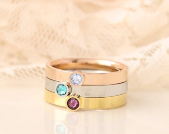 Birthstone Ring - Stacking Birthstone Rings - Mothers Birthstone Rings - Mothers Jewelry - Family Birthstone Ring - Mothers Day Gift