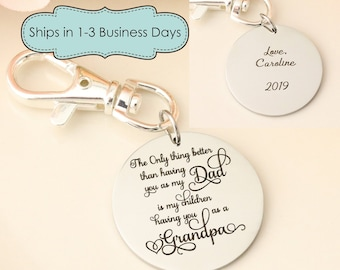 Keychain for New Grandpa - Fathers Day Keychain for Grandpa - Fathers Day Gift - Keychain for Dad from Kids - Personalized Keychain for Dad