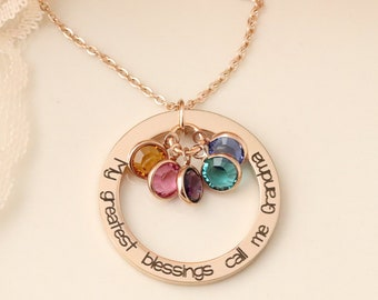 My Greatest Blessings Necklace - My Greatest Blessings Call me Grandma  Grandmas necklace! Personalized grandma gift - Grandmother Jewelry