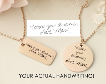 Handwriting Keepsake Necklace - Actual Handwriting Necklace - Custom Handwriting Jewelry - Handwriting Heart Necklace - Handwriting Keepsake