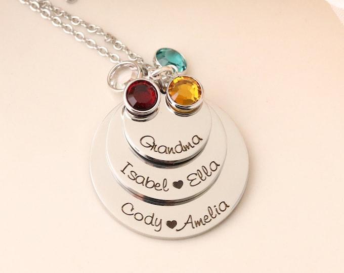 Hand stamped grandmothers necklace! Grandmas necklace! Personalized grandma gift - Grandma Necklace - Gift for Grandma - Mothers Necklace