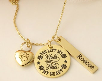 You Left My World, But Never my Heart Pet Memorial Necklace - Pet Urn Necklace - Dog Urn Necklace - Dog Memorial Necklace - Urn Necklace Pet