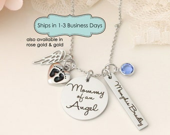 Mommy of an Angel Necklace - Miscarriage Memorial Necklace - Loss of Child Necklace - Sympathy Gift for Child Loss - Stillbirth Memorial