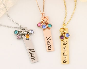 Personalized Grandma Necklace - Personalized Mom Necklace - Nana Jewelry -  Personalized Necklace - Mommy Jewelry - Grandma Jewelry