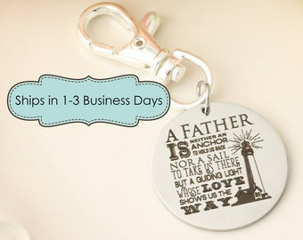 Fathers Day Gift for Dad Keychain - Keychain for Dad - New Dad Keychain - Personalized Keychain for Dad - Lighthouse Dad Quote - Dad Gift