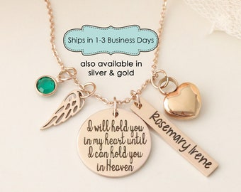 I will hold you in my Heart Until I can Hold you in Heaven Urn Memorial Necklace - Cremation Urn Jewelry - Personalized Urn Necklace