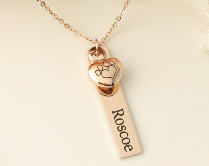 Rose Gold Paw Print Urn Necklace - Pet Memorial Necklace - Pet Urn Jewelry -  Dog Urn Necklace - Dog Memorial Necklace with Urn