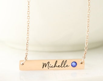 Personalized Bar Necklace - Name and Birthstone Necklace - Necklace with Birthstone and Names - Birthstone Bar Necklace - Bar Name Necklace