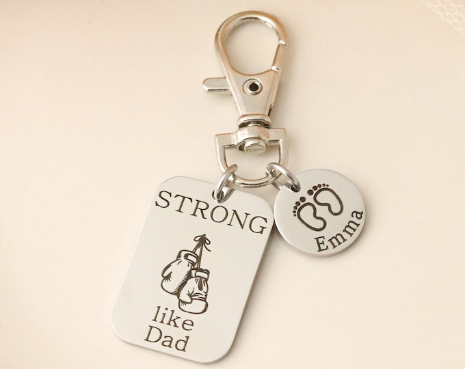 Strong Like Dad Keychain - Boxing Gloves Keychain for Dad - Fathers Day Gift - Keychain for Dad from Kids - Personalized Keychain for Dad