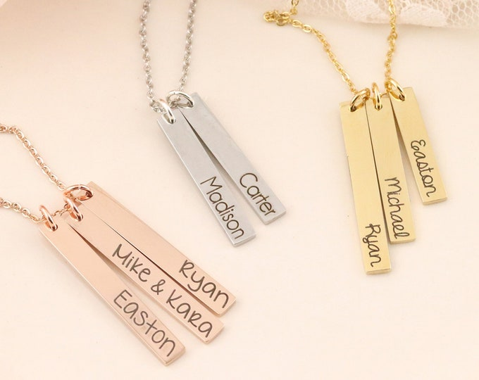 Personalized Bar Necklace - Name Bar Necklace - Mommy Jewelry - Jewelry for Mom - Vertical Bar Necklace -  Gold Bar Necklace