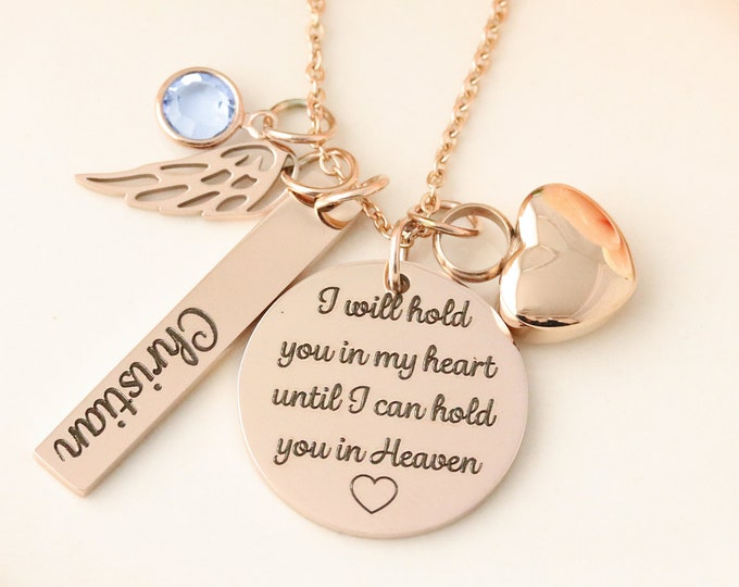 Urn Memorial Necklace - Cremation Urn Jewelry - Personalized Urn Necklace - Urn Bracelet - I will hold you in my heart necklace - Heart Urn