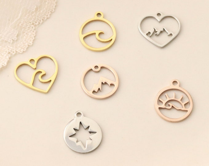 Add on Nature Charm - Wave Charm - Mountain Charm - Gold Mountain Charm - Rose Gold Mountain Charm