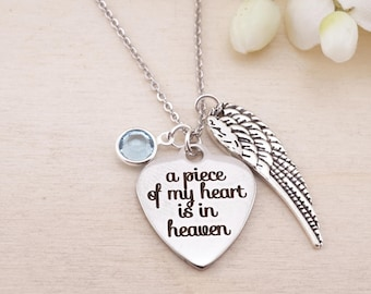 A Piece of my heart is in heaven Necklace Keychain or Bangle.  Memorial Gift - Loss of Loved One - Loss of Spouse Gift - Memorial Jewelry
