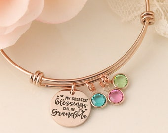 My Greatest Blessings Call Me Grandma Bracelet - Mommy Jewelry - Bracelet with Birthstones - Personalized Gifts For Mom - Grandma Jewelry