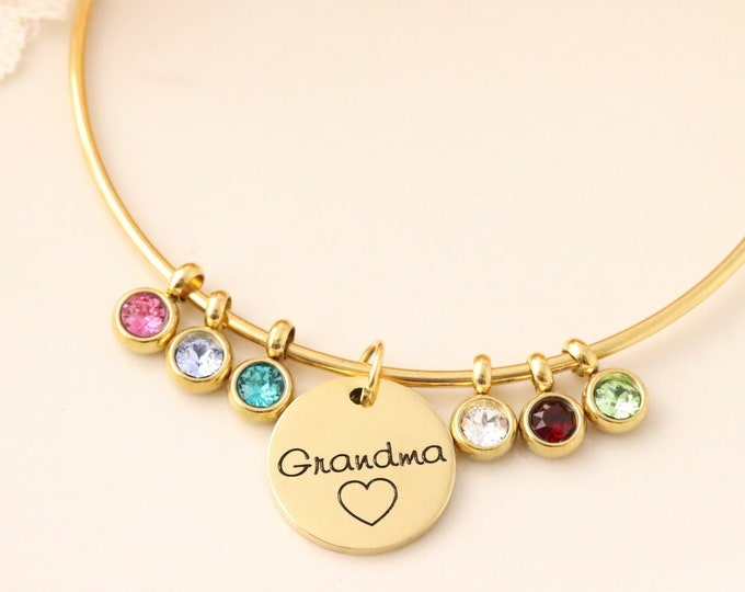 Birthstone Bangle - Grandmothers Bracelet - Bracelet with Birthstones - Birthstone Bracelet - Mommy Jewelry - Gold Grandma Bracelet